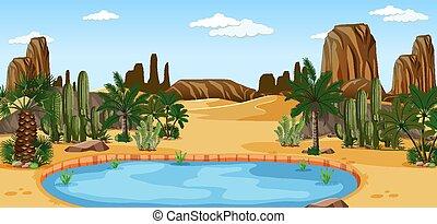 abbandoni cactus, natura, palme, paesaggio, scena, oasi