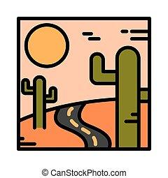 abbandoni cactus, scena, sole, linea, riempire, strada, ...