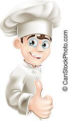 abbandono, segno, chef, pollici, cartone animato