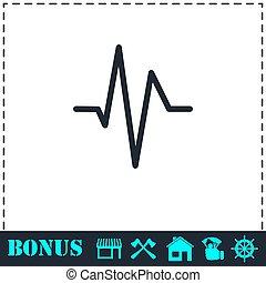 abbatacchiare, cuore, cardiogramma, appartamento, icona