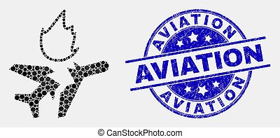 abbattersi, afflizione, francobollo, vettore, aviazione, aeroplano, puntino, icona