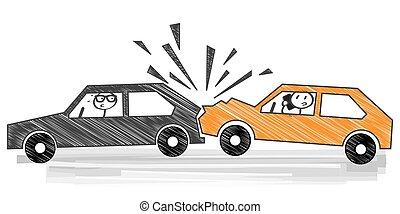 abbattersi, automobile, vettore, -, illustrazione