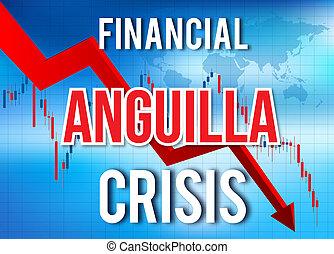 abbattersi, crollo, globale, meltdown., economico, finanziario, anguilla, crisi, mercato