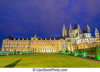 Abbaye-aux-Hommes, night view of Caen landmark, France.