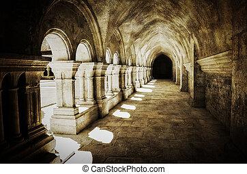 Abbaye de Fontenay archway hall vintage retro view, France