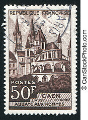 Abbaye - FRANCE - CIRCA 1951: stamp printed by France, shows...