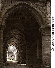 abbey arcs - abbey gothic arcs. Perspective concept