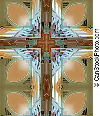 kaleidoscope cross from photo of ceiling of Mt. Angel Abbey, Oregon