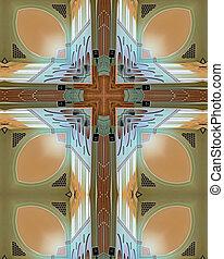 Abbey ceiling cross - kaleidoscope cross from photo of...