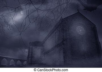 Abbey in a foggy night