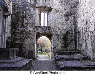 Abbey Interior - interior of 15th century abbey at Muckross...