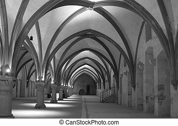 Interior of old abbey in Germany, Europe