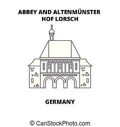 Abbey, Lorsch, Germany line icon concept. Abbey, Lorsch,...