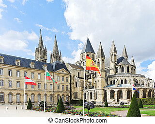 Abbey of Saint-Etienne in Caen, France - view of Abbey of...