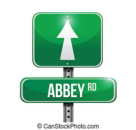 abbey road road sign illustration design over white