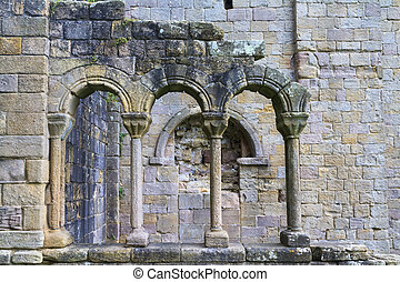 Arch ruins of a abbey in England