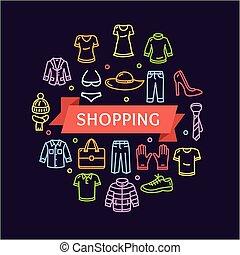 abbigliamento, concept., vettore, shopping