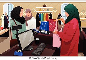 abbigliamento, musulmano, shopping, negozio, donne
