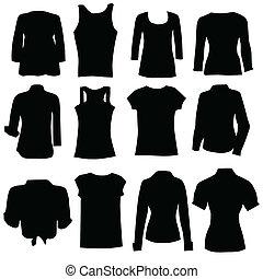 abbigliamento, per, donne, nero, arte, silhouette