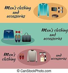 abbigliamento, uomini, tre, colorato, accessori