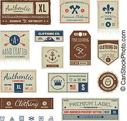 abbigliamento vintage, etichette
