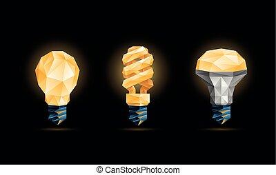 abbildung, birnen, leuchtdiode, licht, set., poly, polygonal, hintergrund., glühen, vektor, schwarz, gelber , fluoreszierend, zwiebel, modell, 3d, niedrig