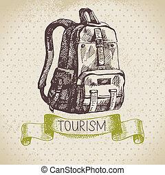 abbildung, camping, skizze, weinlese, hintergrund., wanderung, hand, gezeichnet, tourismus