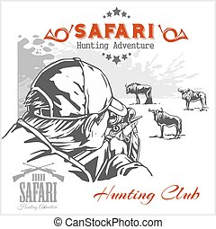 abbildung, club., afrikanisch, etiketten, jagen, safari