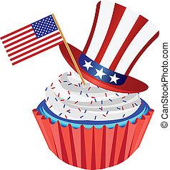 abbildung, cupcake, fahne, 4. juli, hut