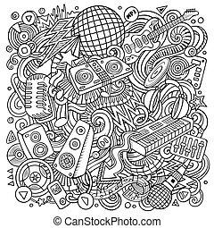 abbildung, disko, vektor, musik, doodles, karikatur