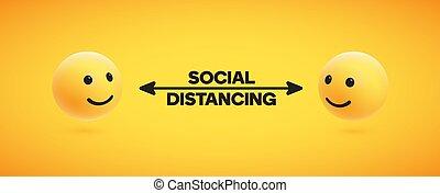 abbildung, distancing, sozial, vektor