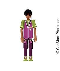 abbildung, freigestellt, von, afrikanischer amerikanischer mann, dunkles haar, mit, smartphone