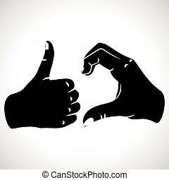 abbildung, friendzoned, hände, form
