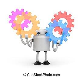 abbildung, gears., roboter, bunte, 3d