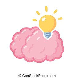 abbildung, gehirn, idee, lightbulb