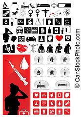 abbildung, groß, medizin, sammlung, vektor, icons.