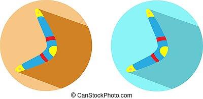 abbildung, hintergrund, freigestellt, bumerang, vektor
