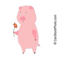 abbildung, inländisch, vektor, tier, pig., cartoon.