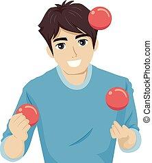 abbildung, jonglieren, jugendlich, kugeln, kerl