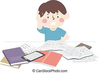 abbildung, junge, studieren, cramming, buecher, kind