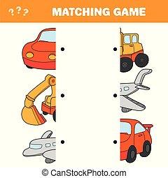abbildung, karikatur, hälften, spiel, aktivität, bildung, passend, vorschulisch