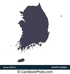 abbildung, korea süden, asia, vektor, -, design., logo, eps, ikone, länder, 10., landkarte, schablone