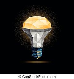 abbildung, leuchtdiode, licht, poly, polygonal, hintergrund., glühen, vektor, schwarz, gelber , model., zwiebel, 3d, niedrig