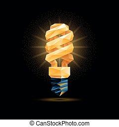 abbildung, licht, poly, polygonal, hintergrund., glühen, vektor, schwarz, gelber , fluoreszierend, model., zwiebel, 3d, niedrig