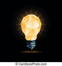 abbildung, licht, poly, polygonal, hintergrund., glühen, vektor, schwarz, gelber , model., zwiebel, 3d, niedrig