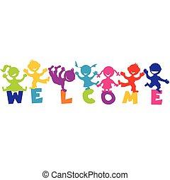 abbildung, mit, wort, herzlich willkommen, und, glücklich, kinder