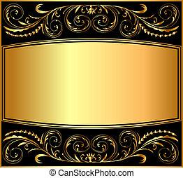 abbildung, muster, hintergrund, gold