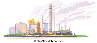 abbildung, raffinerie, oel, feuer