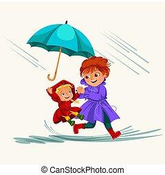abbildung, regnen, gehen, frau, schirm, jacke, familie, wasserdicht, wolkenhimmel, tropfender , stiefeln, gummi, regentropfen, vektor, regen, mutti, unter, baby, pfützen, m�dchen, hände