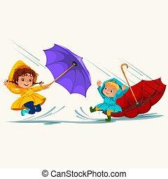 abbildung, regnen, gehen, junge, jacke, schirm, aus, wasserdicht, himmelsgewölbe, tropfender , stiefeln, wasser, gummi, springende , vektor, regen, unter, pfützen, m�dchen, tropfen, kinder